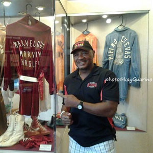 Marvelous next to his champion robe in Canastota Boxing Hall of Fame Museum